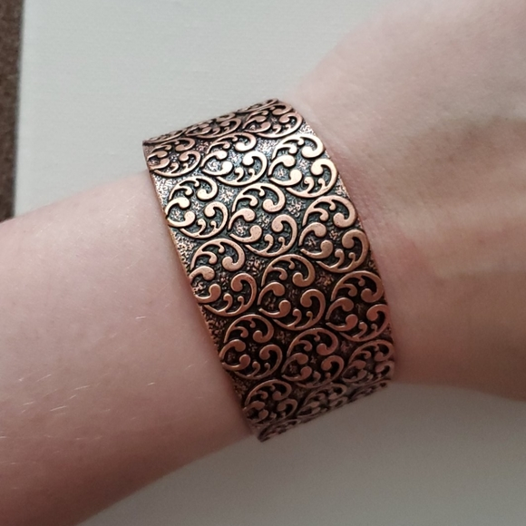 Electroformed Stone Copper Cuff Gypsy Cuff Bracelet River Rock Copper Cuff OOAK Cuff Bracelet Boho Copper Cuff